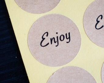 34mm round enjoy brown kraft stickers 60pcs
