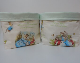 Beatrix Potter Peter Rabbit Fabric Baskets x 2 - Nursery Caddies Nappy Diaper Holders 100% Cotton Perfect Gift