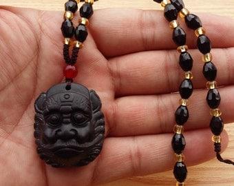 Free Shipping - Zhong Kui natural obsidian pendant necklace men and women obsidian Zhong Kui head