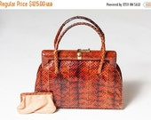 25% OFF STOREWIDE SALE Stunning rare vintage snakeskin handbag and matching coin purse - 1930s 1940s brown-red genuine snakeskin bag with su
