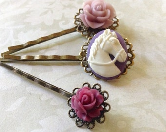 Set of 3, White on Plum Horse And Roses Hair Clips