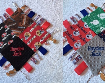 "49er and New England Patriots Combo Baby Sensory Ribbon Security Blanket Lovey with Tags 16""x16""   FOOTBALL Team inspired"