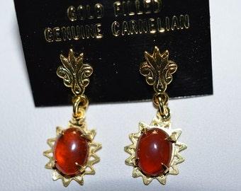 Vintage, Elegant Carnelian Filigree Earrings(1017263)