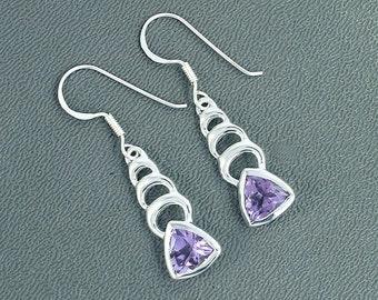 On Sale Amethyst Earrings - Purple Amethyst and 925 Sterling Silver Dangle Earrings - Amethyst Earrings - February Birthstone Gift Earrings