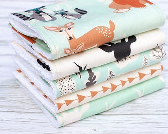 Baby Burp Cloths Set of 5, Baby Gift, Baby Shower, Newborn Burp Cloths, Gender Neutral Burpcloths, Deer Burpcloths, Woodland Burp Cloths