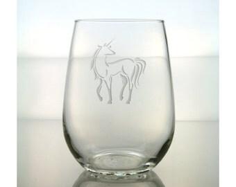 Unicorn Wine Glass /  Free Personalization /  Unicorn 17 oz Stemless Wine Glass / Personalized Glass / Personalized Gift