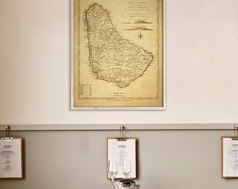 """Barbados map 1775, Old map of Barbados Island, 4 sizes up to 36x48"""" (90x120 cm) Big nautical chart, also in blue - Limited Edition of 100"""