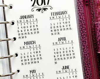 Pocket 2017 Year at Glance printed planner insert - year in review - yearly planner insert - #301-17