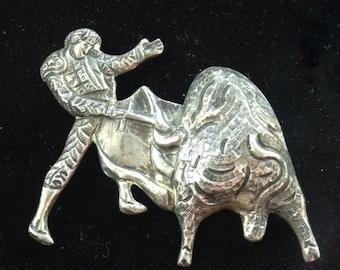 Bull Fighter, Brooch, Pin, Sterling Silver