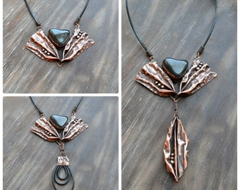 Copper Necklace-transformer, a necklace-fan, fold-forming