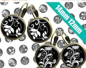 SALE 75% Digital Collage Sheet BLACK WHITE Floral 14mm 12mm Printable Circles Download for pendants  earrings cufflinks rings