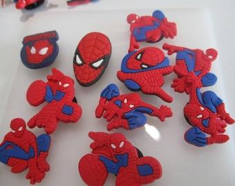 10 rubber Superhero Spiderman shoe/buttonhole charms 30mm