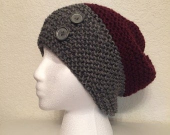 Handmade Knit Color Blocked Slouchie Beanie