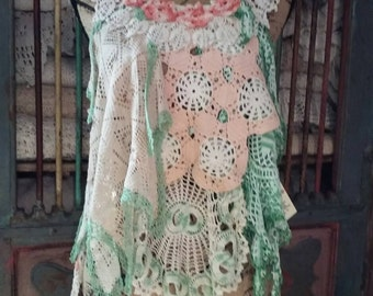 Upcycled doily tunic top