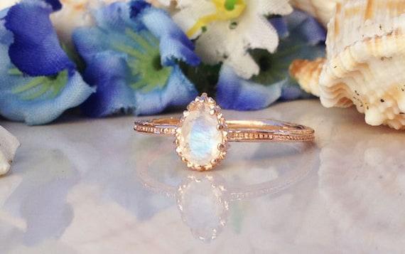20% off-SALE!! Genuine Moonstone Ring - Rainbow Ring - Gemstone Ring - June Birthstone - Gold Ring - Simple Ring - Teardrop Moonstone