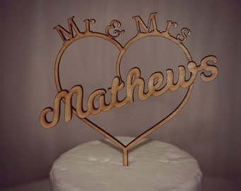 Personalised Rustic Mr & Mrs Wedding Cake Topper, Romantic,Love, Wooden