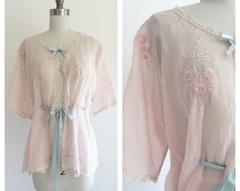 Vintage Light Pink Embroidered Lounge / Night Jacket