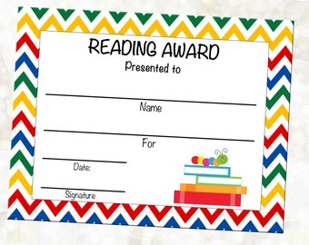 INSTANT DOWNLOAD - Reading Award - Reading Certificate - Library Award - Book Club Award - You Print - DIY