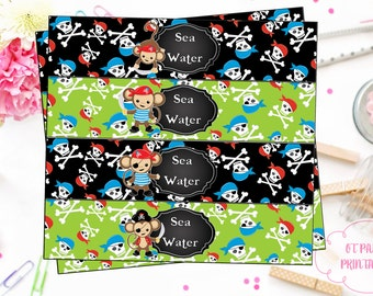 INSTANT DOWNLOAD - Pirate Party Printables - Sea Water Label - YOU Print - Pirate Monkey Party - Pirate Birthday Party - Pirate Label