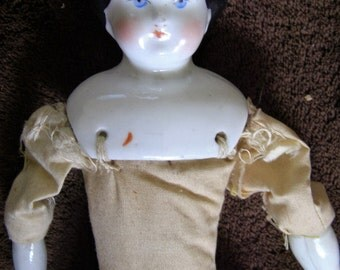 "1880s China Head Doll -Blue Eyes, Black Hair with Gorgeous Dress - 12"" Tall"
