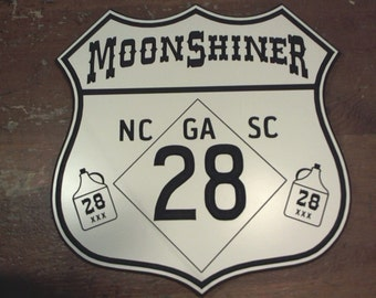 Moonshiner route 28 engraved road sign hanging man cave garage motorcycle