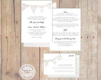 50 x Bunting Wedding Invitations UK,Rustic Wedding Invites,Lace Wedding Invites,Kraft Wedding Invite,Custom Wedding Invite