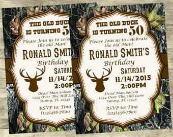 The Old Bucks Birthday Invitation Over the Hill Birthday Camo Birthday Old Bucks Birthday Old Mans Birthday Camo Buck 50th Birthday