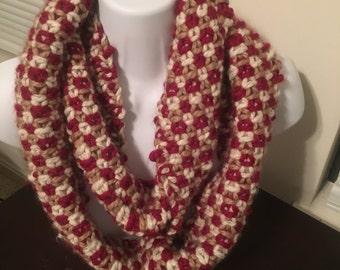 Crimson and Cream tri-color infinity scarf