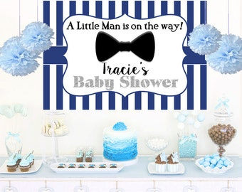 Little Man Navy Blue Personalized Backdrop - Baby Shower Cake Table Backdrop Birthday-  Bow Tie Backdrop, Printed Vinyl Backdrop