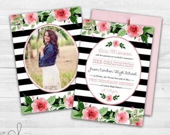 Senior Graduation Announcement  | Modern Graduation Invitation | Printable Grad Announcement | Stripes and Floral | Class of 2017
