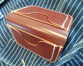 Leather wallet, hand cut/stitched/burnished. (FREE UK SHIPPING)