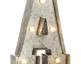 lighted galvanized metal letters medium size 9 inch letter vintage distressed finishchoose your letter battery operated with light bulbs