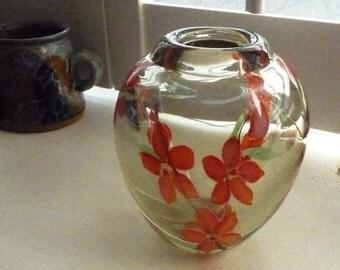 Murano Glass vase with Murrine Flowers 13cms