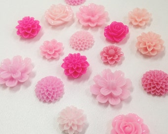 NEW - Resin Flower Cabochon - Pink mixed lot- QTY 10 pieces