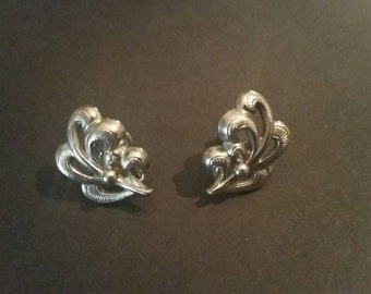 Vintage Silver Scroll Earrings Costume Jewelry