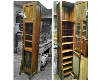 Antique Early Tall Cedarine Advertising Chimney Oak Cupboard Cabinet!!