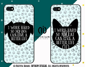 I Work Hard, Dog, Cat, iPhone 6S Case, iPhone SE Case, iPod Touch 6 Case, iPhone 6 Plus Case, iPhone 6, iPhone 5S & iPhone 5C Case