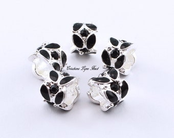Choose 1, 3 or 5 European style charm beads tibetan silver, black color !