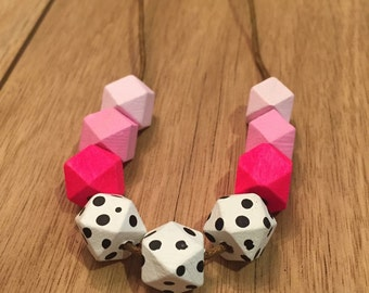 Wooden Geometric 12mm Bead Necklace -Polka-dot/Pink