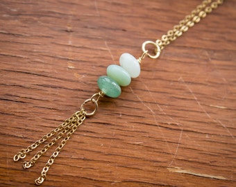 Natural Amazonite Bead Necklace (Gold Filled)