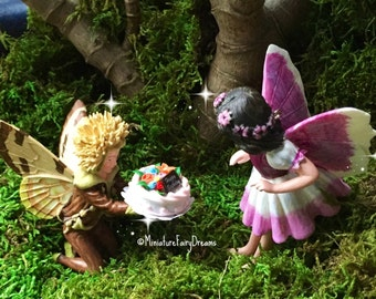 Fairy garden Birthday cake, miniature Birthday party, miniature cake stand, fairy Birthday party, miniature cake, miniature balloons