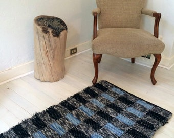 SOLD,   Black, Light Blue and Gray Handwoven Wool Rag Rug