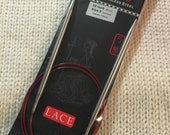 """32"""" US 8/5 mm Chiaogoo RED Lace Fixed Length Stainless Steel Needles"""