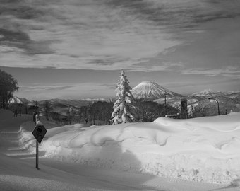 Mt. Yotei in the distance, during the winter