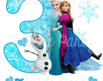 Personalized Frozen Digital Image, Elsa, Anna, Olaf, for T shirt, Printable Iron On Transfer Sticker, for custom Birthday Shirt