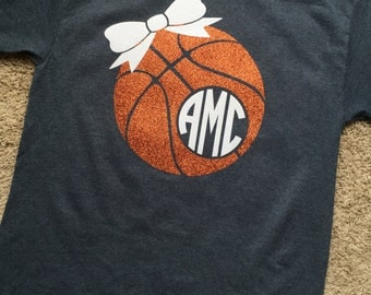 Basketball Vinyl Monogrammed Shirt, Short Sleeve for Youth and Adult