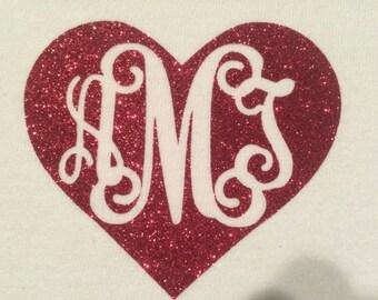Glitter Vinyl Heart Name, Monogram Heart Vinyl Iron-On