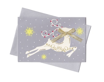 Vintage Metallic Silver Reindeer Holiday Cards - Set of 15