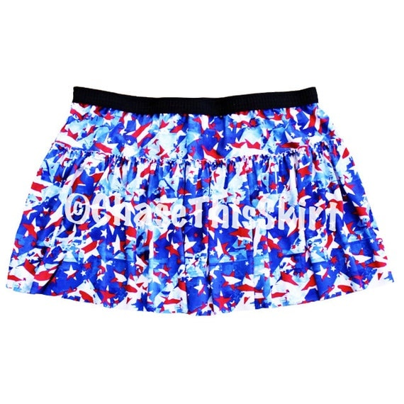 white blue patriotic running skirt