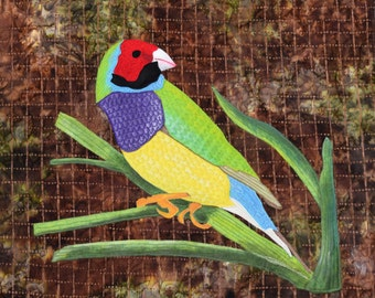 Australian Gouldian Finch.  Handpainted.  Thread painting.  Freemotion quilted.  Raw edge fusible applique.